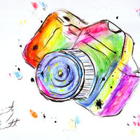 Watercolor Camera Art Print by Trinity Bennett | Society6