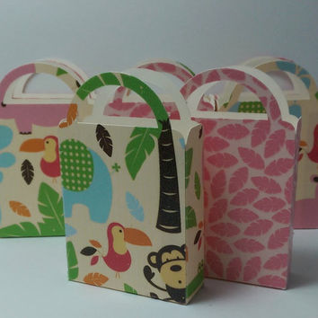 Miniature Glitter Favor Bag, Candy Box, Cookie Box, Baby Shower, Birthday Party, Jungle Theme (8)
