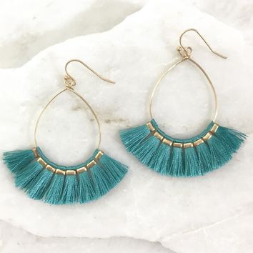 Conner Tassel Hoop Earrings in Teal Blue
