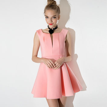 Pink Sleeveless A-line Dress with Wavy Edge