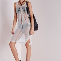 Missguided - Metallic Mesh And Stitch Knitted Dress White