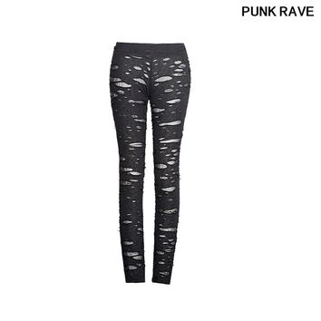 GothicHigh Elastic Holes Crocheted Breathable Ripped Leggings Steampunk Charm Sexy Women Broken Mesh Pants PUNK RAVE K-099
