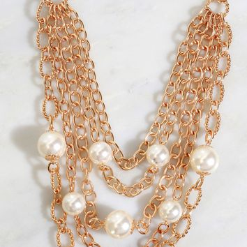 Layered Pearl & Chain Necklace Gold