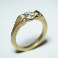 Double Headed Snake Ring in 10K Gold with Moissanite and Diamonds