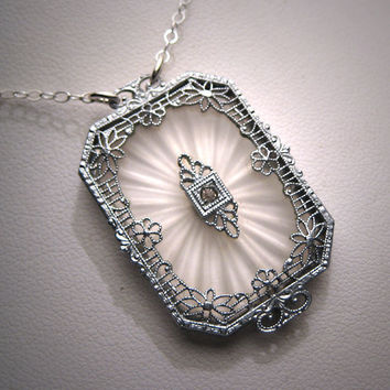 Antique Camphor Glass Crystal Necklace by AawsombleiJewelry