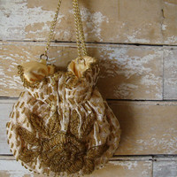 Vintage Gold and Cream Hand Beaded Drawstring Purse Adorable