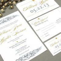 Fleur de Lis | French Baroque Wedding Invitation Suite by RunkPock Designs | Script Calligraphy Formal Modern Invitation | shown in Gold and Charcoal Gray