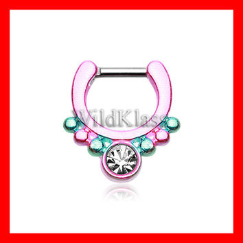 Pink Septum Clicker Colorline Classic Gem Grandiose Septum Ring Cartilage Earrings Nipple Ring Circular Barbell Tragus Jewelry Helix Conch