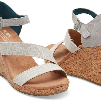 GREY AND WHITE LINEN WITH CHEVRON CORK WOMEN'S CLARISSA WEDGES
