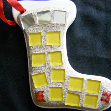 Stocking Christmas Ornament with Yellow Stained Glass