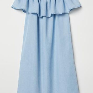 Off-the-shoulder Dress - Light denim blue - Kids | H&M US