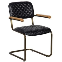 Clovis Arm Chair, Vintage Black Leather