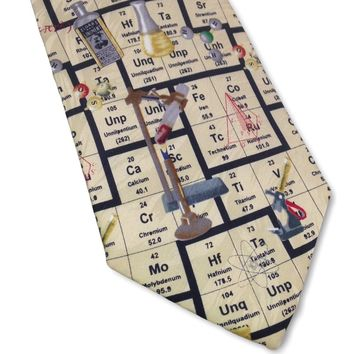Scientist Chemistry Periodic Table Men Silk Tie 3.8W