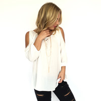 Dedicated Cold Shoulder Blouse In Ivory