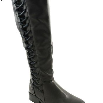 Black Corset Lace Up Riding Knee High Vegan Leather Boots