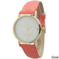 Olivia Pratt Women's Anchor Emblem Leather Strap Watch