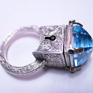 Sterling Silver Engraved Topaz Locking by MetalCoutureJewelry