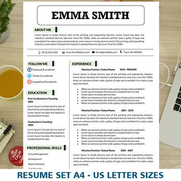 Teacher Resume Template, Resume and Cover Letter Teaching Template, Resume Template Word, Teacher CV, Instant Download Resumes, 1 & 2 Pages