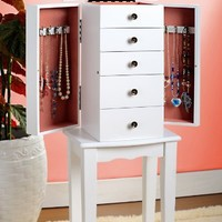 White Jewelry Armoire Chest
