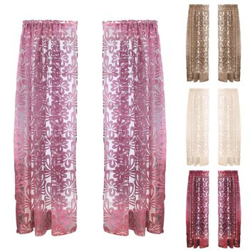 Brand New Top luxury Modern Paper-Cut Embroidered Sheer Voile Curtains for Living Room Bedroom Kitchen Tulle Window PTSP