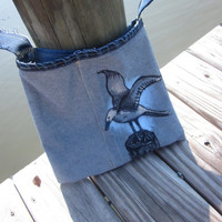 Hand Painted Denim Hip Bag Seagull Bird Art Upcycled Jeans  Original OOAK Purse Handmade Gift