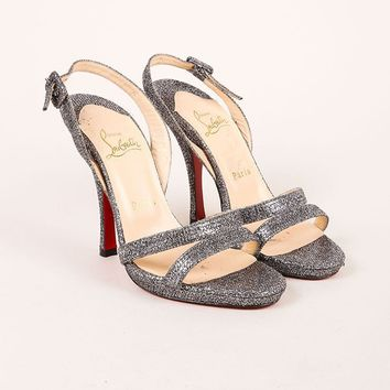 HCXX Silver Glitter Leather Strappy Sandal Heels