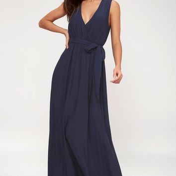 Abigail Navy Blue Surplice Maxi Dress