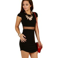 Promo- Black Cap Block Bodycon Dress