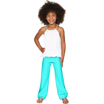 Candy Mint Amelia Green Knit Pull-On Palazzo Pant - Girls