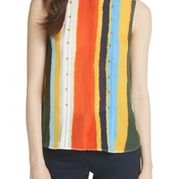 Tory Burch Bettina Studded Silk Georgette Top | Nordstrom