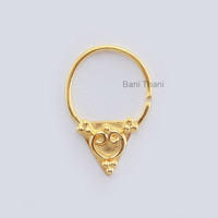 Textured Designer Gold Plated 925 Sterling Silver Nose Ring, Septum Piercing jewelry Real Tribal Septum - #6666