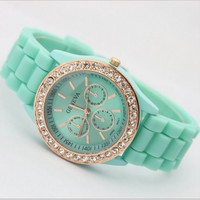 Geneva Silicone Golden Crystal Stone Quartz Women Jelly Wrist Watch