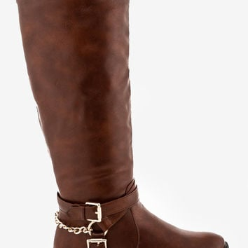 Nicole Chained Riding Boot - Brown
