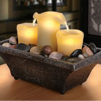 Apothecary 3-Candle LED Fountain (Brown)