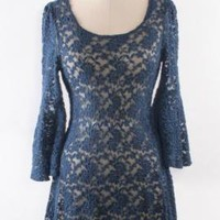 Palace Tryst Peek-a-Boo Scallop Bell Sleeve Lace Dress in Royal Blue | Sincerely Sweet Boutique