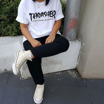 '' Thrasher '' Hot letters print T-shirt top
