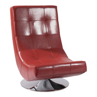 ARMEN LIVING Mario Swivel Chair Red Bonded Leather