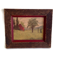 Vintage Barnstable Originals, Twin Pines, Country Scene of Red Barn, Pastoral, 1800's Barnboard Frame, Home Decor, Pine Trees, Green and Red