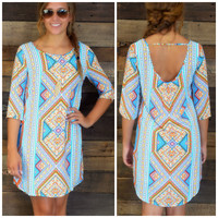 SZ LARGE Diamond Ridge Aqua & Orange Geo Shift Dress