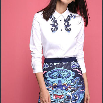 Sequins Dragon Embroidery Collar Button Blouse