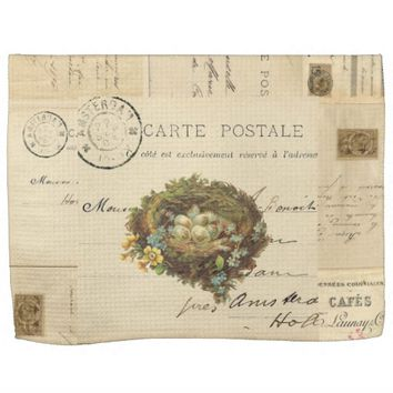 Vintage Bird Nest French Postcard Towel
