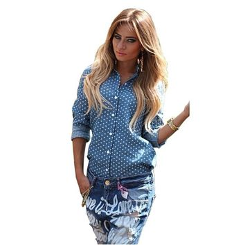 Denim Shirt Women Blouse Dots Long Sleeve