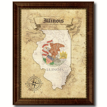 Illinois State Vintage Map Home Decor Wall Art Office Decoration Gift Ideas
