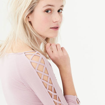 LATTICE SLEEVE BODYCON TOP