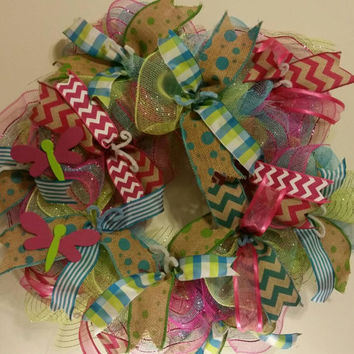Easter Spring Deco Mesh Door Wreath with hand painted Dragonflies. Chevron polka dot stripes