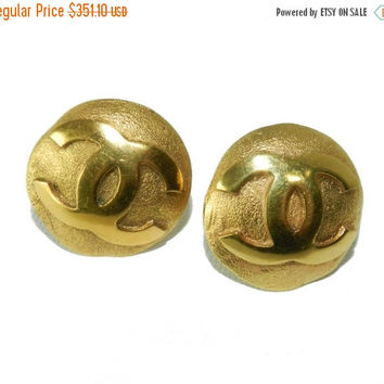 SALE SaLe Coco Chanel Earrings, Chanel Logo Earrings, Statement, Vintage Jewelry Jewellery, Designer Signed, Authentic, Fashion Earrings