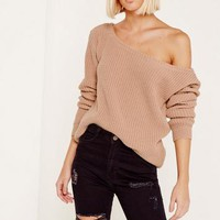 Missguided - Pink Ophelita Off Shoulder Knitted Sweater