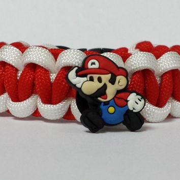 Super Mario Bracelet, Mario Bros Bracelet, Super Mario Jewelry, Red and White Bracelet, Custom Super Mario Bracelet. 26 Colors to choose