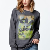 adidas Athletic Camo Crew Neck Sweatshirt - Womens Hoodie - Grey
