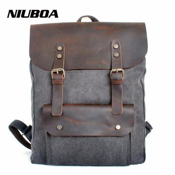 NIUBOA Genuine Leather Canvas Backpack Men Military Backpack Boy Girl Vintage Thick Canvas School Backpack Shoulder Bag Rucksack